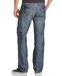 Add the right amount of blue collar ruggedness to any causal look with these slim, washed welder pant jeans from Levi's.
