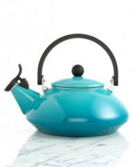 Simply elegant. This contemporary, enameled steel kettle adds Asian flair to your kitchen and table. Features a unique locking handle and phenolic knob making it easy to lift and pour. Wide lid area makes cleanup a snap! Limited lifetime warranty.