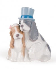 Two sweet pups take a much-needed nap. A perfect accent for any tabletop or mantlepiece. 4-3/4 x 4