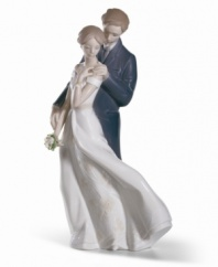 Celebrate your eternal love with this charming porcelain figurine from Lladro. The intricate detail and endearing sentiment make this piece a lovely gift for any special couple.