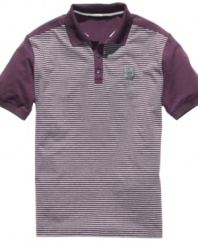Follow the lines toward this cool classic with an eye to the street. This Sean John polo shirt is the perfect remix.