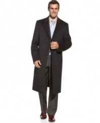 Clean lines and a modern construction make this sharp Izod overcoat the perfect defense against wintry weather.