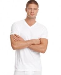 Soft, 100% cotton basic v-neck t-shirts. Classic, fitted. Two per pack.