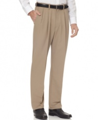 Lightweight and ready for the road, these wrinkle-free Haggar dress pants make a great choice for a guy on the go.