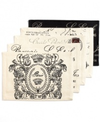 We'll always have Paris. Bring out your inner traveler with the Vintage Traveler Brasserie Placemats from Park B. Smith, featuring a Parisian-inspired motif in a classic black and ivory palette.