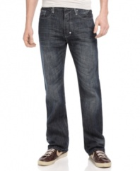 Rock out your weekend with these medium-wash jeans from Sean John.