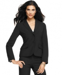 Anne Klein's crisp jacket feature thick-stitched detail at the edges for a tailored look. Pair with trousers or a sleek sheath for a polished, professional look.