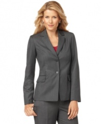 Calvin Klein's classic pinstripe jacket features modern flourishes like a double-lapel collar and matte buttons for a sleek look at an amazing price!