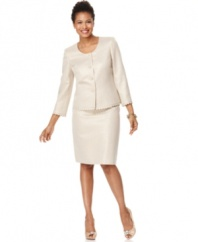 Kasper's skirt suit features luxurious details from its shimmery gold texture to jeweled buttons and scalloped trim. An elegant and sophisticated option for your next celebration.