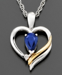 Stay true to your heart. This gorgeous pendant features round-cut sapphire (1/2 ct. t.w.) and diamond accents set in 14k gold and sterling silver. Approximate length: 18 inches. Approximate drop: 3/4 inch.