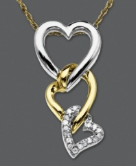 Let love conquer all with this interlocking heart necklace. Set in sterling silver and 14k gold, pendant features three interlocking hearts with the bottom heart coated in round-cut diamond accents. Approximate length: 18 inches. Approximate drop: 3/4 inch.