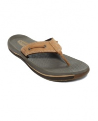 This pair of men's flip flops is durable enough for all-terrain warm weather adventures, so these smooth men's sandals from Sperry Top-Sider keep you on the go all spring and summer long.