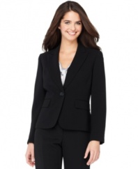 This jacket is sleek suiting made simple. It pairs easily with pants and skirts already in your wardrobe or can be easily coordinated with other pieces from Kasper's collection of suiting separates.