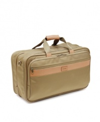 A sleek design and strong build let you travel with confidence. Constructed of lightweight, durable ballistic nylon, carry-on features basic urban colors with tough, full-grain leather trim and a finish in antique brass or matte black nickel hardware. Exclusive MT2 Technology provides exceptionally strong wheels, handle and frame. Expands for added packing space. Stores in overhead compartments for convenience.