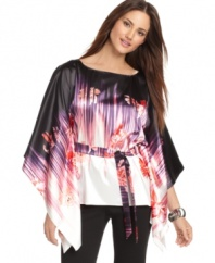 Dramatic kimono sleeves and a bold floral print make this T Tahari Francesca blouse the focus of a fashion-forward fall ensemble!