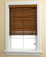Give your room a natural look of sophistication. Featuring wide ladder strings and generous 2 panels, these bamboo wood blinds make over any space with distinction. Window treatments include wand control that adjusts blinds to the angle you desire and string functionality to adjust height. Also includes valance.
