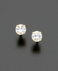Make her feel special with these sparkling cubic zirconia stud earrings. Set in 14k gold.