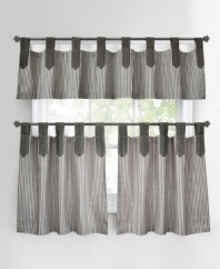 A stylish way to show your stripes. The tab-top design of the Ticking Stripe window valance accents the classic stripe pattern with casual, chic flair. Featuring pure cotton.