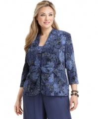 A floral print with chic metallic detail will be the highlight of your next special occasion! Pair this plus size jacket and cami with your favorite dressy pants or a long skirt for the next wedding or formal event on your calendar.
