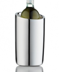 Ensure bottles of rose and white wine are at their best with this sleek wine chiller, featuring mirror-polished stainless steel for a look of timeless glamor. A great gift, from Hotel Collection.