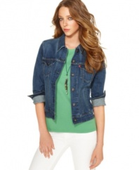 A classic denim jacket in a medium blue wash is an springtime essential, from Levi's. Wear it with anything from a flirty dress, to casual separates!