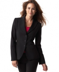 Keep it simple and smart in T Tahari's three-button fitted blazer.