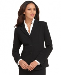 This classically tailored three-button suiting jacket is a go-to favorite for polished office style, by Jones New York.